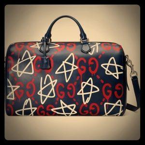 Gucci Ghost Duffle Travel Bag GG Graffiti Print